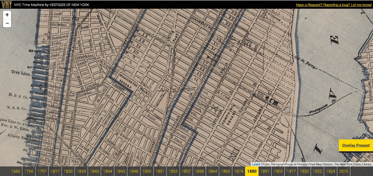 NYC Time Machine, Vestiges of New York, NYC historic maps