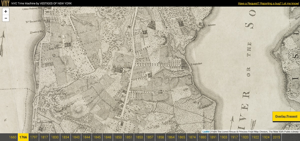 NYC Time Machine Lets Users Navigate Overlaid Maps from 1600 to