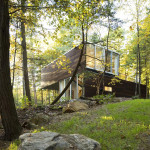 Gluck+, collection of buildings, Lake House, Boathouse on a lake, green roof building, Adirondack Mountains, Guesthouse, indoor swimming pool,