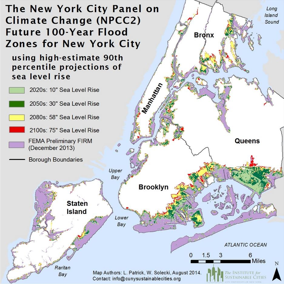 nyc climate change map rising sea levels new york city panel on climate change