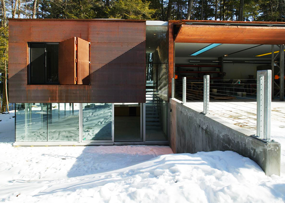 Gluck+, corrugated copper skin, guesthouse, ´Inverted Outbuilding´, airplane hangar doors, big garage, ultramodern home, windows all-round, minimal interiors, natural light,