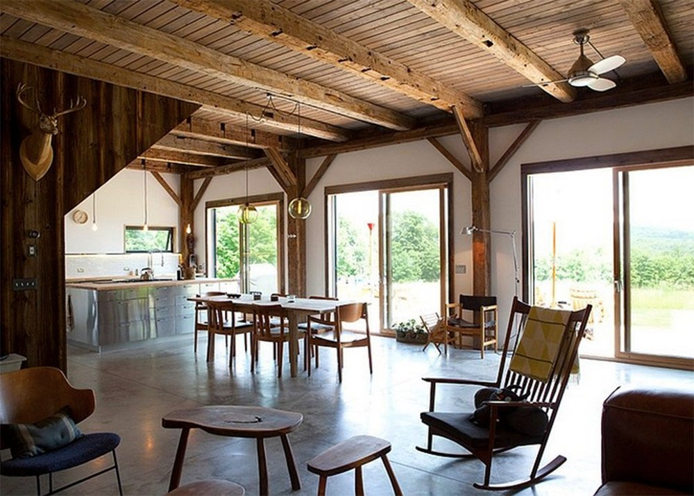 Kimberly Peck, restored barn, Bovina Residence, reclaimed wood, natural light, Bovina, Catskills, structural insulated panels, corrugated aluminum, concrete slab