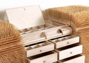 Sebastian Errazuriz, spiky furniture, Magistral Chest, Hardwood Maple, Bamboo, bamboo skewers,