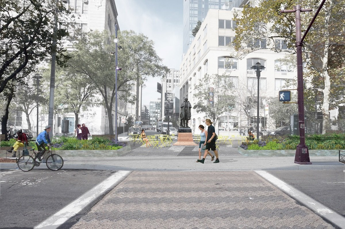 Renderings revealed for sustainable hudson square park by for Mathews nielsen landscape architects