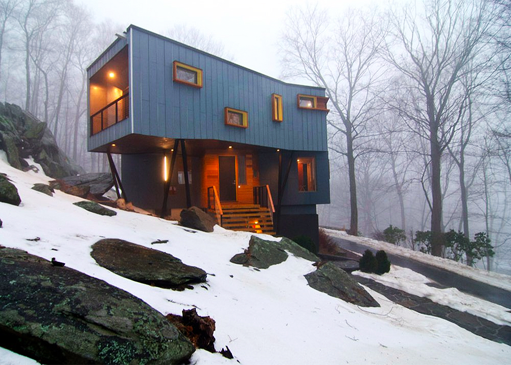 Method Design, sustainable renovation, adition, DPR Residence, Pound Ridge, on stilts, on thin columns, sustainable redesign, re-cladding home