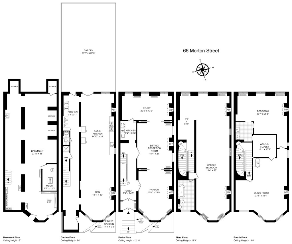 66 Morton, West Village, 280 Park Place, Prospect Heights, High Low, Townhouse, floor plan