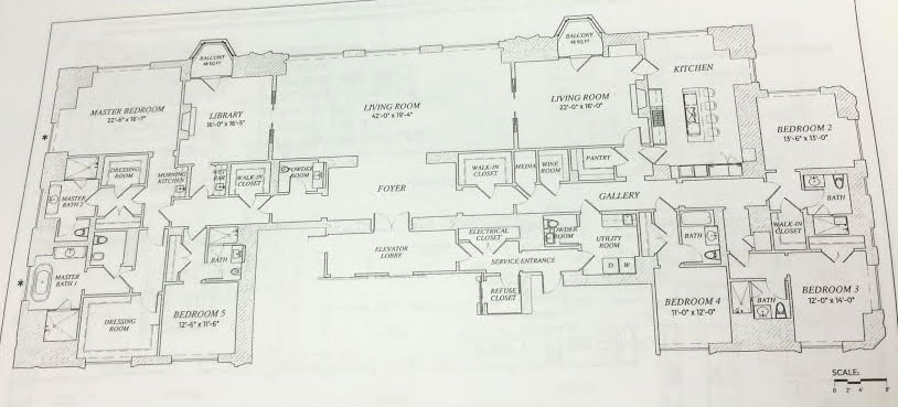 The floor plan for the 49th floor unit at 220 Central Park South