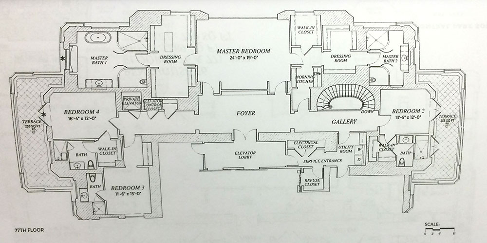 The floor plan for Penthouse 76 at 220 Park South