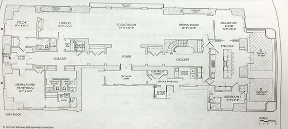 The floor plan for 50th floor at 220 Park South 2