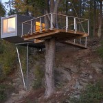 Baumraum, tree house, Cliff House, V-shaped pillar, German design, wooden interiors, modern tree house, New York