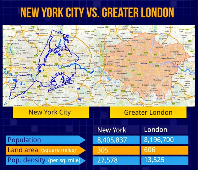 Maps Compare NYCs Footprint To Other Cities Around The World Sqft - London map with cities
