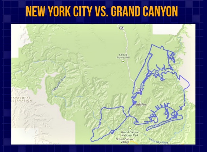NYC vs Grand Canyon, NYC land map, NYC population map