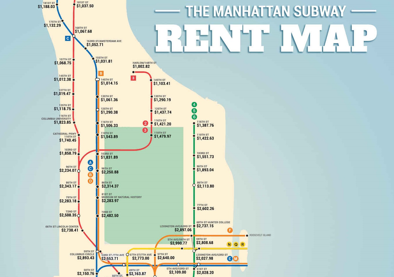 Subway Rent Map Shows Manhattan Rental Prices Along Each Train - Map of us train routes