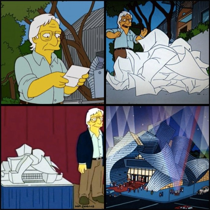 frank gehry on the simpsons, frank gehry crumpled up paper
