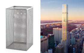 Josef Hoffmann, Josef Hoffmann designed trash basket, 432 park avenue, rafael vinoly, 432 park avenue inspiration, 432 park avenue design is based on a trash can