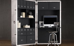Restoration Hardware, aviation working station, Blackhawk Secretary, Space Saving furniture, Mobile Home-Office, Mid-20th-Century Aircrafts, aviation furniture,