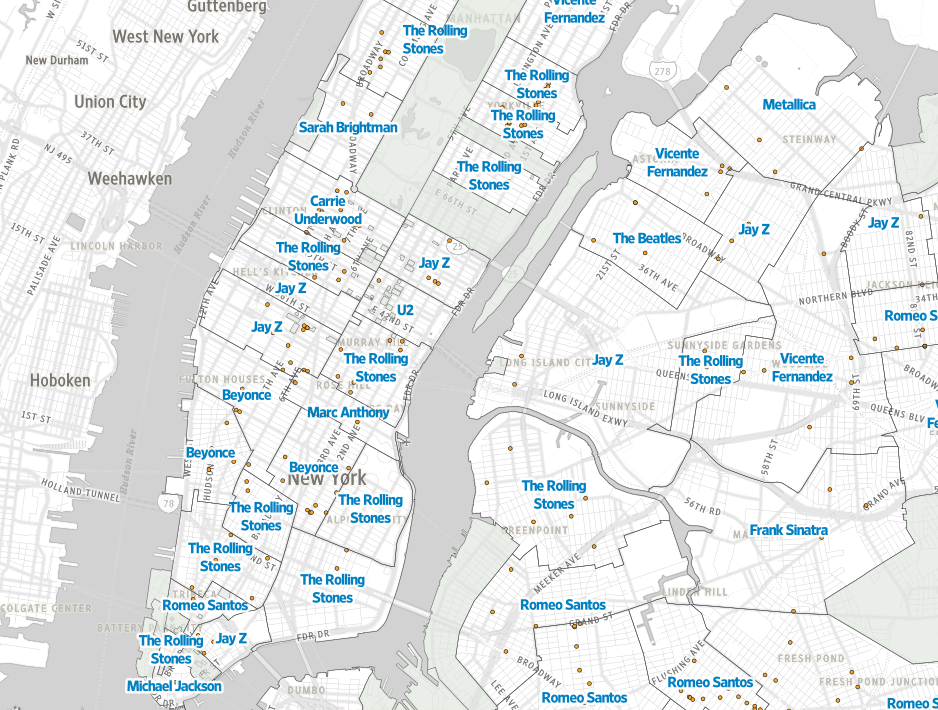 Us Map According To New Yorkers.What Are New Yorkers Listening To The Answer May Surprise You 6sqft