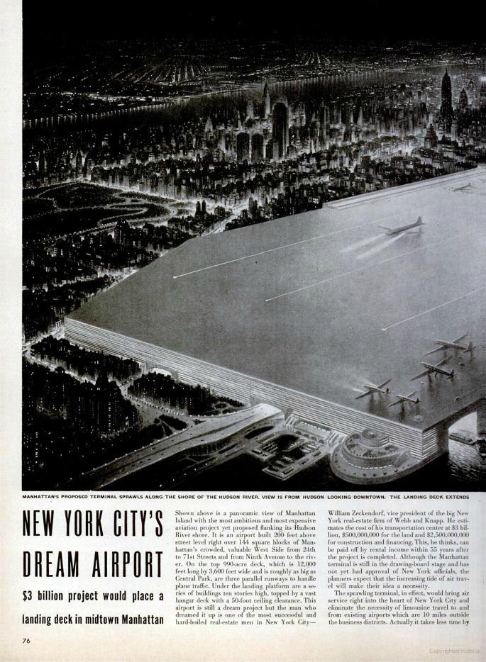 NYC Dream Airport, William Zeckendorf, Manhattan Airport