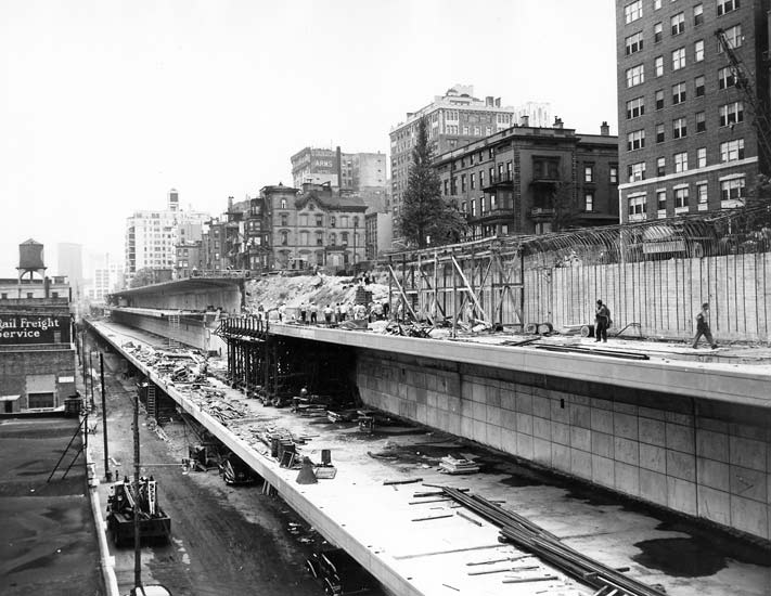Brooklyn Heights Promenade construction, Brooklyn Queens Expressway