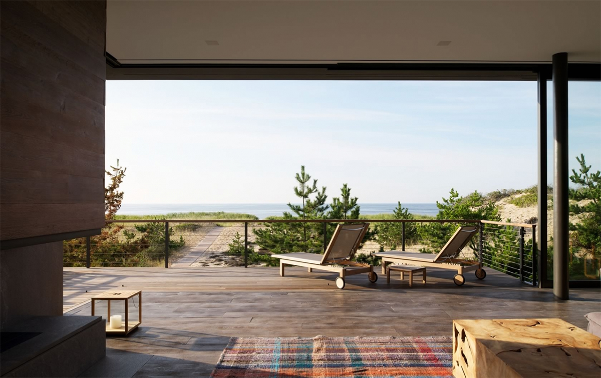 Stelle Lomont Rouhani Architects, contemporary seaside home, Shore House, wooden louvers, beachfront property, Amagansett