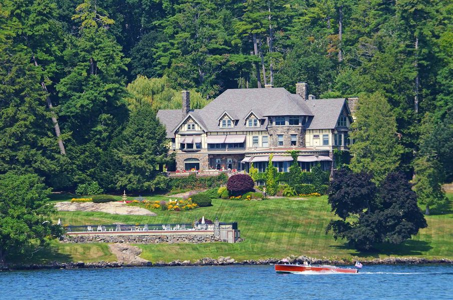 13m tudor revival mansion on lake george has historic for Lake house upstate ny