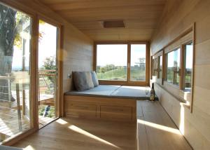Baumraum, tree house, Cliff House, V-shaped pillar, German design, wooden interiors, modern tree house, New York