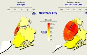 NYC Property Values, cartograms, Metrocosm