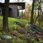 GRADE, elegant rustic, novelist home, Ridge House, Hudson River, forest views, woodland retreat, timber-imprinted concrete