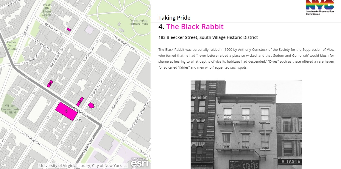Taking Pride map, NYC LGBT history, NYC Pride, The Black Rabbit