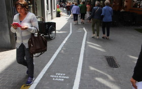 antwerp, Belgium, text walking lanes, pedestrians, cell phones
