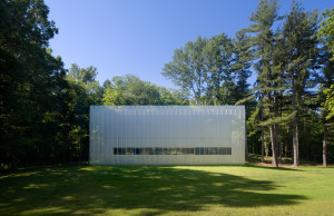 Woodland retreat, perforated steel curtain, Phifer and Partners, Hudson Valley, simple architecture, ethereal home, Salt Point House