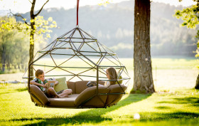 Richie Duncan, hanging geodesic domes, Kodama Zomes, customizable floating furniture, Sacred geometry, Buckminster Fuller, hanging cocoon, summer furniture
