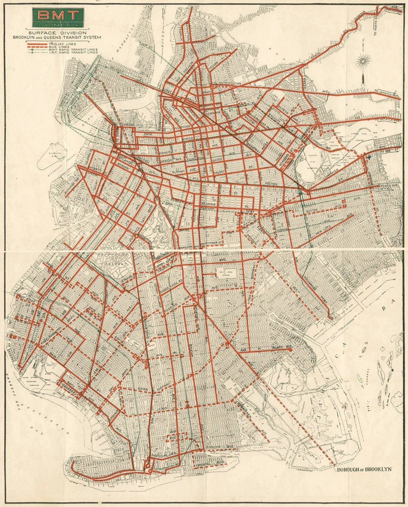 1930s brooklyn bmt, Brooklyn trolley map