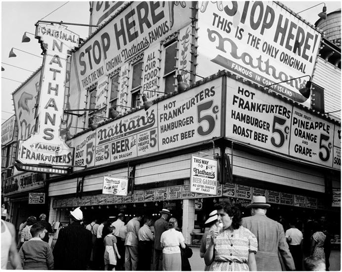 Nathan's Famous, Coney Island hot dogs, Coney Island red hots, hot dog history
