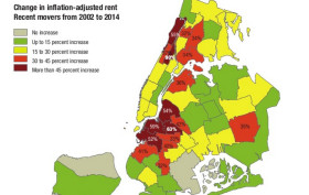 NYC rent increases 2002 to 2014, NYC rent map
