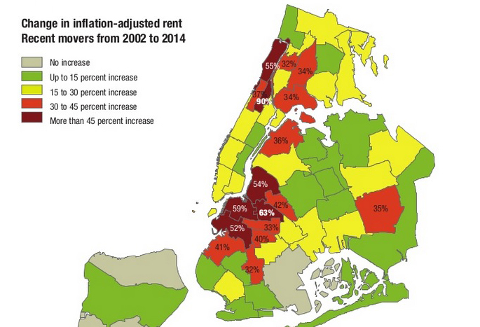 Harlem Nyc Map.Harlem Rents Jump 90 Over The Past 12 Years Bed Stuy Not Much