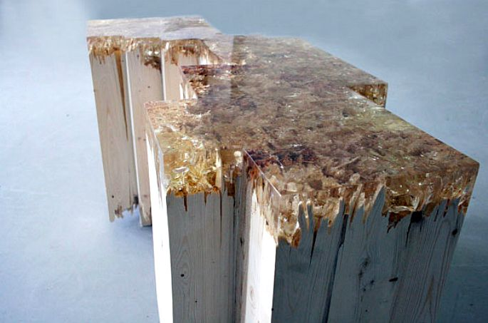 Broken Board Series 2, Jack Craig, furniture design, caramelized resin
