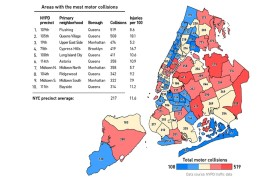 NYC traffic accidents map, Auto Insurance Center, NYC traffic collisions
