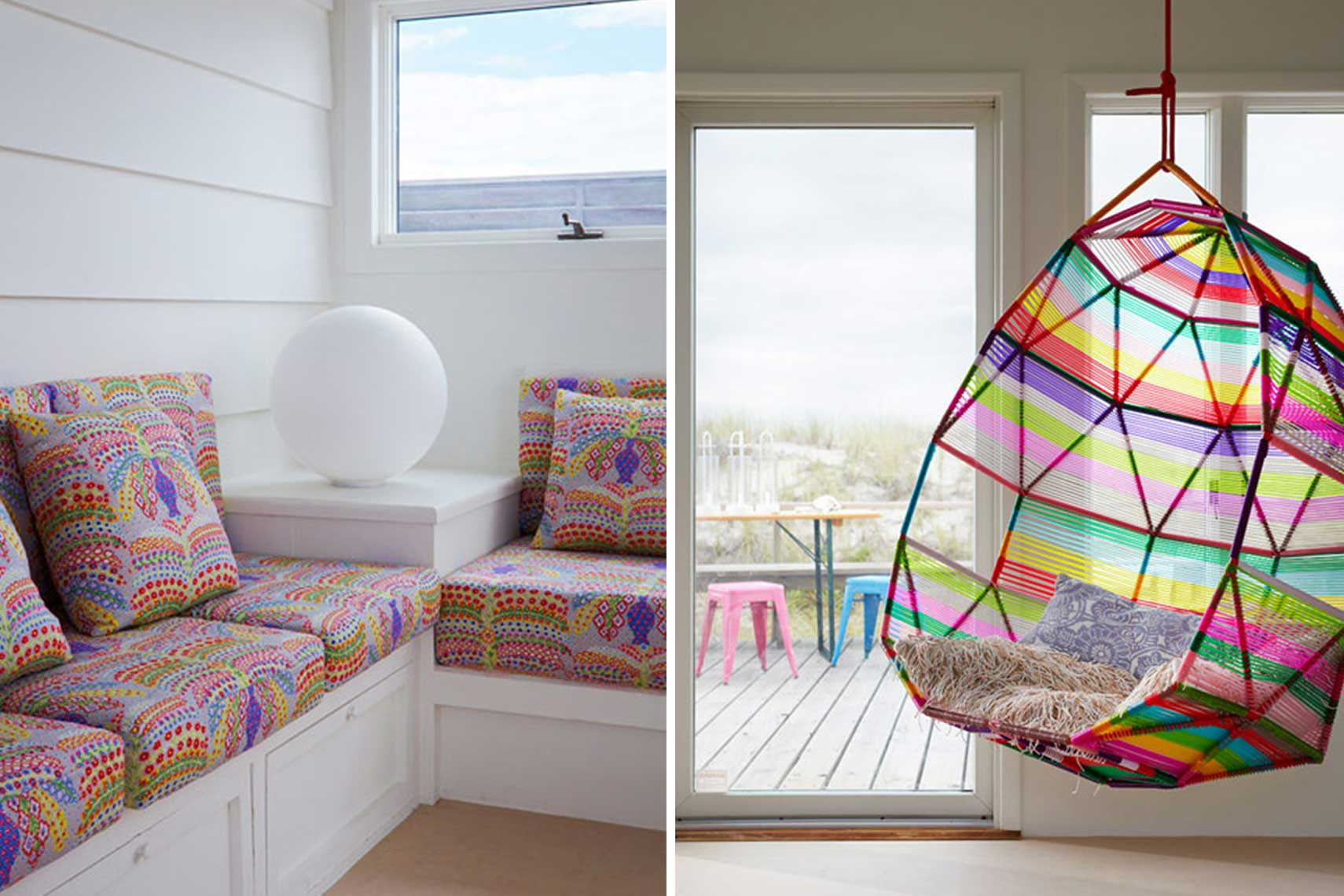 Alexandra Angle, colorful beach house, Fire Island Beach House, revamped beach house, contemporary design classics, Liberty's fabric, Patricia Urquiola, Bertoia, Kartell, Isamu Noguchi