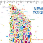Alfalfa Studio Iconic New York Map Poster, Alfalfa Studio, Iconic New York Map Poster, new york landmarks poster