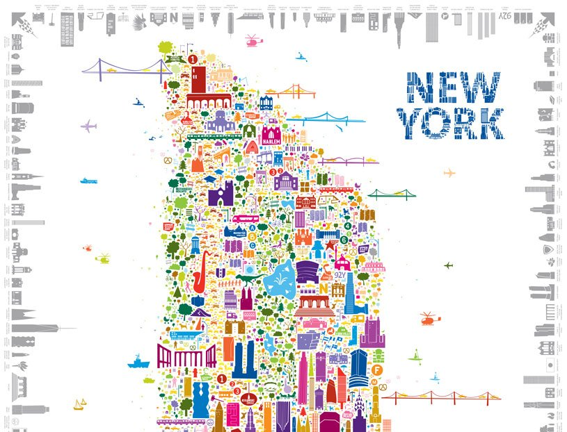 Alfalfas Whimsical Map Colorfully Details New York Icons Sqft - New york map