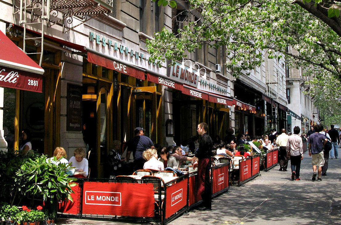 NYC sidewalk cafe, outdoor dining NYC