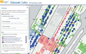NYC sidewalk cafe map, sidewalk cafe, outdoor dining NYC, interactive NYC maps