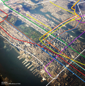 nyc subway system map overlaid over manhattan aerial image, nyc subway aerial