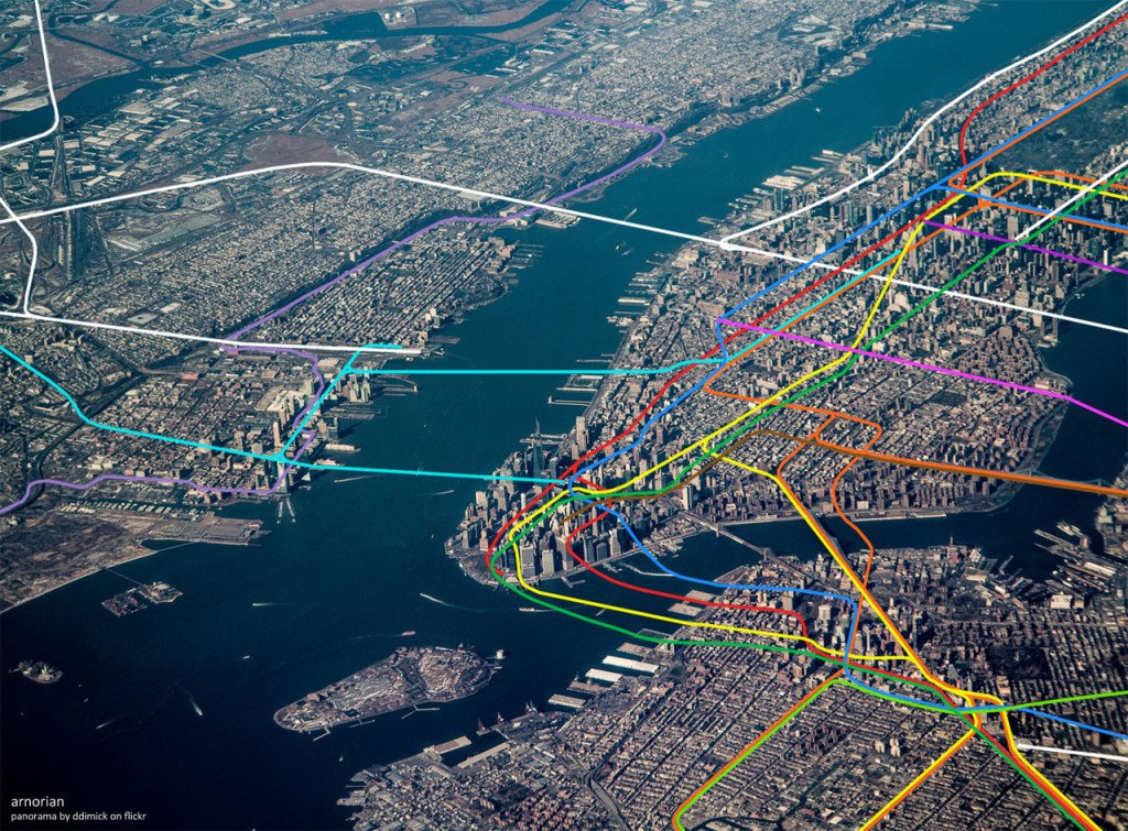 nyc subway system map overlaid over manhattan aerial image 2