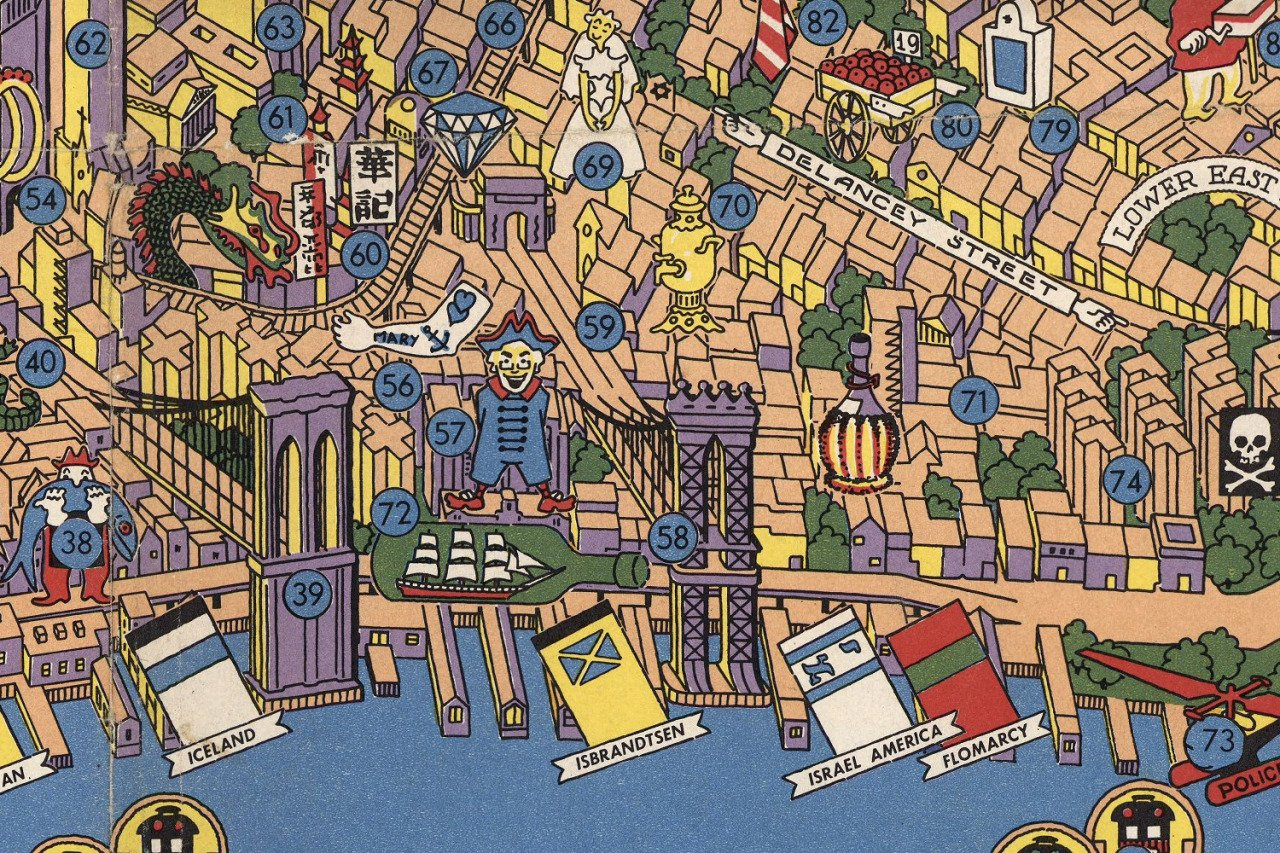 Detailed Map Of New York City.Amazing Detailed Graphic Designer S Map From The 1950s Features 300