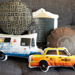 Ronda J.Smith, Elements of Nyc Pillows, new york print pillows, brooklyn print pillows, taxi pillows, pigeon pillows