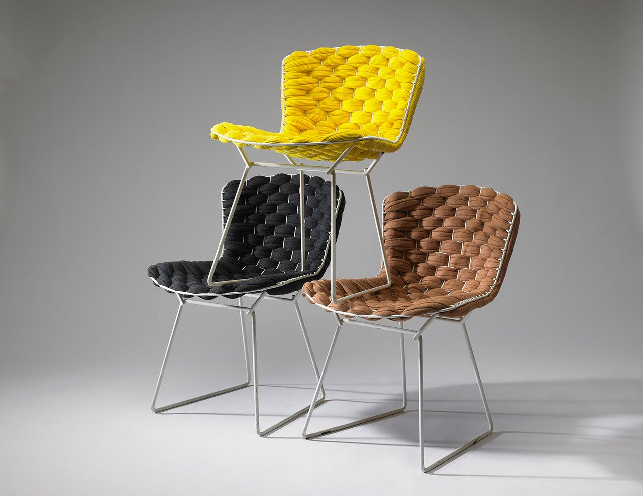 French design, Clément Brazille, Bertoia chairs, classic with a twist, classic redesign, woden fabric upholstery, Wire Chair, Bertoia Loom Chair