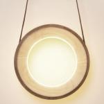 Kjartan Oskarsson, HALO lamp, Icelandic, wooden donut shape, interactive design, interactive light, minima