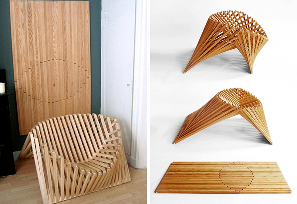 Robert Van Embricqs  Bamboo chair  sculptural chair  Rising Chair  Flatpack  design. Space Saving Chair Pops Up From a Single Sheet of Bamboo   6sqft
